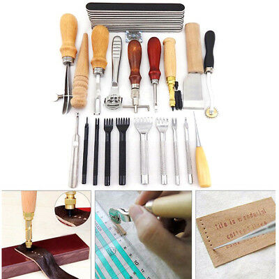 18Tlg. Leder Werkzeug Stitching Craft Hand Sewing Stitching Groover Kit Sets