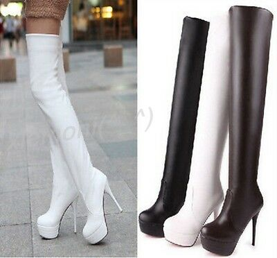 1c60ebf43d3 Sexy Womens High Stilettos Side Zip Pull on Thigh Platform Over Knee Boots  Shoes