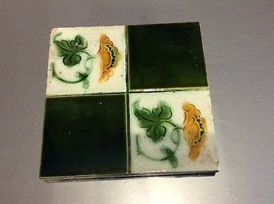 Victorian Ceramic Chequered Tile with Green and Yellow Floral Detail