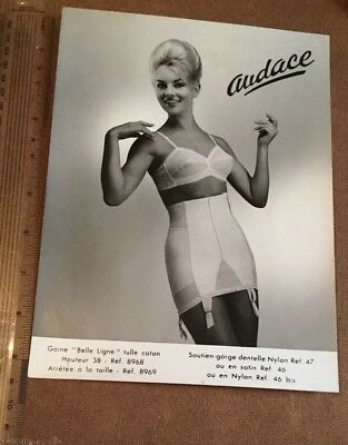 c1960s FRENCH GLAMOUR ADVERTISING B&W PHOTO.MODEL IN,AUDACE CORSET.BELLE LIGNE