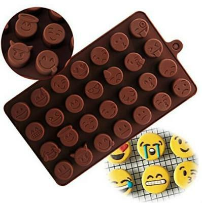 Emoji Funny Face Cake Chocolate Cookie Cube Silicone Tray Baking Mould ONE