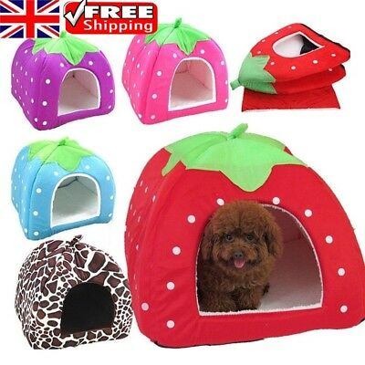 Strawberry Pet Cat Dog Fleece Bed Pyramid Cozy Pets Hut House Travel Basket UK