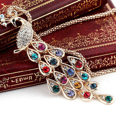 Women Retro Gold Plated Crystal peacock Pendant Necklace Sweater Chain Fashion J