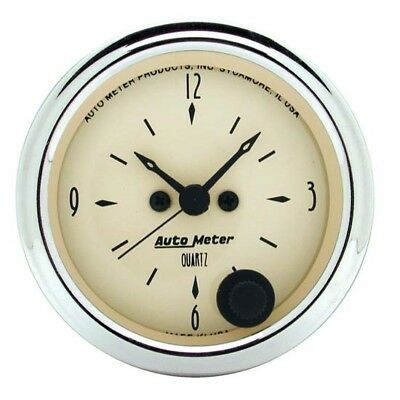 Auto Meter 1885 Antique Beige Quartz Clock Gauge
