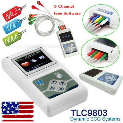 US Seller,24 Hours Dynamic ECG System 3 Channel EKG Holter 12 Leads Recorder+CD