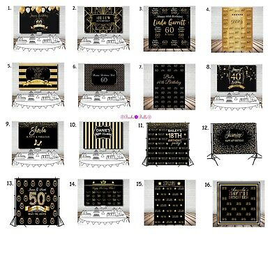Personalised 50Th Birthday Party Banner Backdrop Background Gold Black