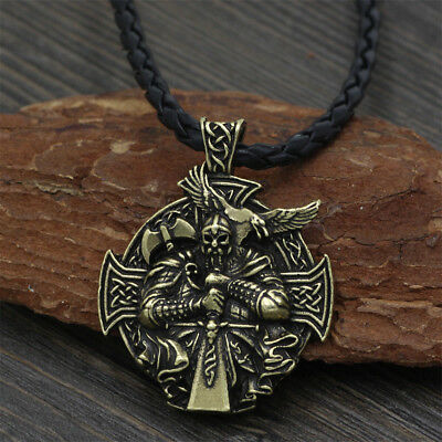 Men Viking Odin Wolf Raven Compass Norse Pendant Necklace Double Side Jewellery