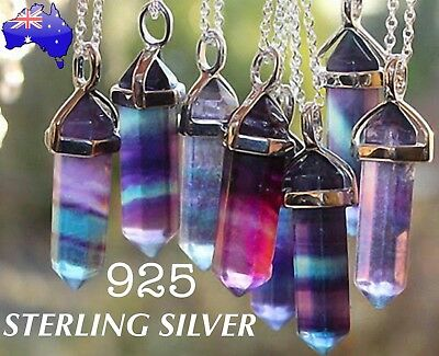 Natural Fluorite Crystal Quartz Healing Pendant 925 Sterling Chain Necklace Gift