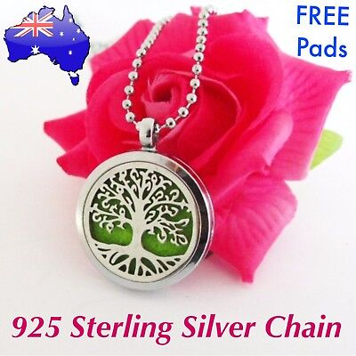 Tree of Life Aromatherapy Essential Oil Diffuser Locket Sterling Chain Necklace