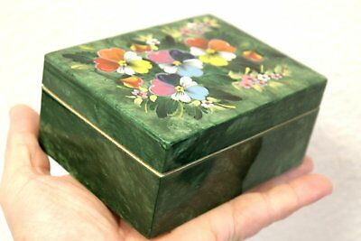 Vintage jewelry box handmade art painting wooden Russia 70's