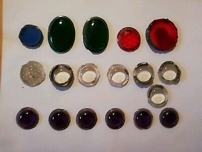 18 x old stained glass bullseyes/roundels assorted spares/repair/craft