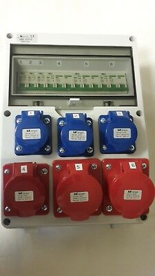 Three phase wall mounted distribution board, 3 phase panel CEE sockets, splitter