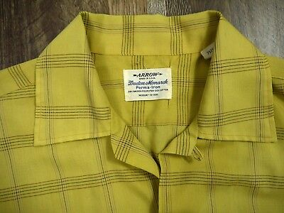 VINTAGE 50s 60s ARROW SANFORIZED ls shirt LOOP COLLAR rockabilly USA mens M