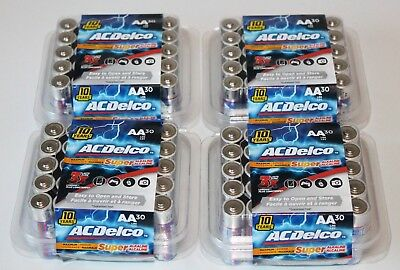 120 AC Delco AA Alkaline Battery (4 X 30 pack) Expiration 2028   batteries