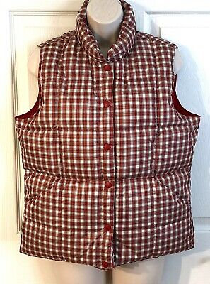 LANDS END Vest Womens Size S 6 8 Down Filled Red Plaid Puffer Snap Front Winter