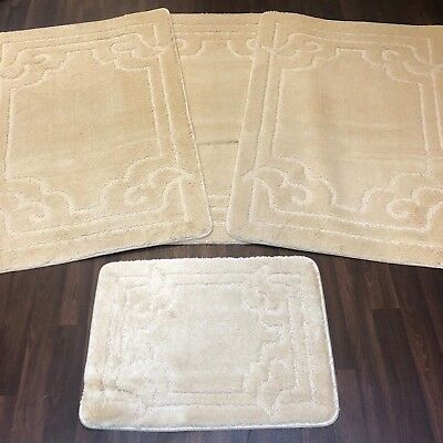 ROMANY WASHABLES GYPSY MATS 4PC SETS NON SLIP MATS RUG OVAL BOWS DESIGN CREAM