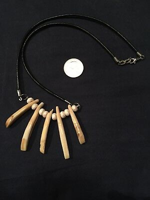 REAL wild boar tusk tooth tribal necklace
