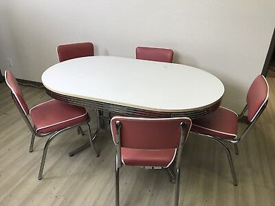 Vintage Coaster Style Oval Dining Table and 5 Pink Chairs Set Retro 1950's