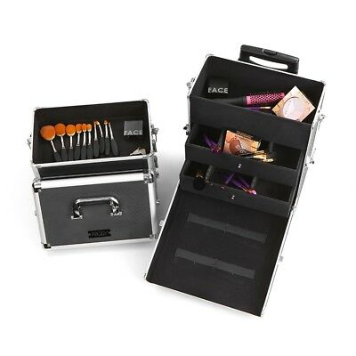 6 Layer Cosmetic Train Case Large Capacity Make Up Organizer Rolling Beauty Box
