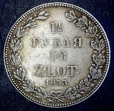1833 Poland/russia 10 Zloty Zlotych 1 1/2 Rouble Silver Coin