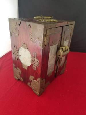 """Vintage Antique Oriental Jewelry Box with Four Carved Jade Inserts 5.5x4.25x7"""""""