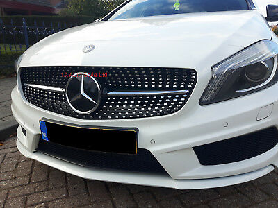 Gloss black Diamond grill for A-Class W176 A160 A180 A200 A250 AMG 2013-2015