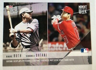 2018 Topps Now FIRST Moment of the Week A.L. ROY Shohei Ohtani RC & Babe Ruth