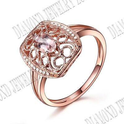 Solid 18k Rose Gold Flower Morganite Natural SI/H Diamond Gift Ring Fine Jewelry