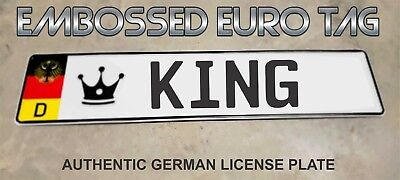 BMW German Eagle Euro European License Plate Embossed - KING -  GERMANY