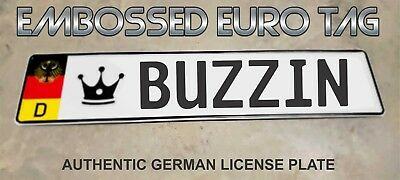 BMW German Eagle Euro European License Plate Embossed - BUZZIN -  GERMANY