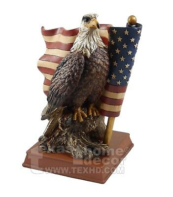 Bald Eagle Figurine Statue United States Flag Patriotic Home Office Decor USA