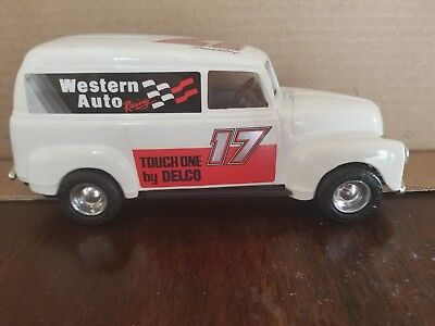 VINTAGE METAL BANK Western Auto/Darrell Waltrip 1950 Chevy Panel Truck