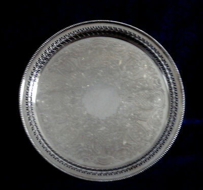 """Vintage Barker Ellis Silver Plate Reticulated Round Tray 10 1/2"""" Made In England"""
