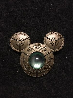 Disney trading pin Mickey Mouse Icon ears Steampunk gears center glass sphere