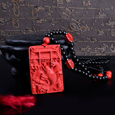 Natural Red Cinnabar Carving Chinese Carp jump longmen Pendant Beads Necklace