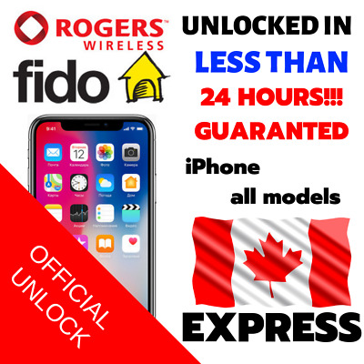 UNLOCK CODE SERVICE ROGERS FIDO FOR iPHONE 4s 5 5s 6 6s 6+ 6s+ SE 7 7+ 8 8+ X