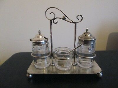 Antique Cut Glass Silver Plated Cruet Set On Stand - Pinder Brothers Sheffield