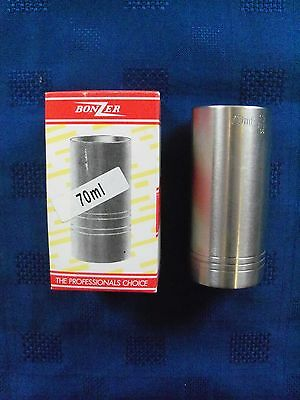 """""""BONZER"""" STAINLESS STEEL GOVERNMENT STAMPED 70ml SPIRIT MEASURE (New in box)"""