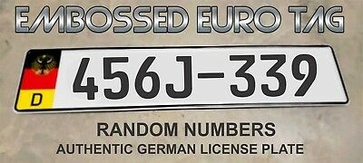 BMW German Eagle Euro European License Plate Embossed - RANDOM NUMBERS / LETTERS
