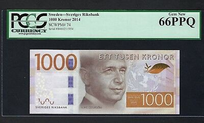 Sweden 1000 Kronor 2014 P74 Uncirculated Graded 66