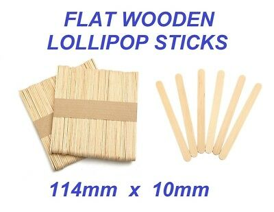 FLAT WOODEN LOLLIPOP STICKS - Natural Wooden Sticks - Lollies Crafts Ice Cream