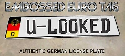 BMW German Eagle Euro European License Plate Embossed - U- LOOKED -  GERMANY