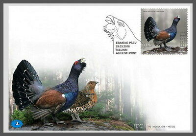 H01 Estonia 2018 Bird of the Year Capercaillie FDC MNH Postfrisch