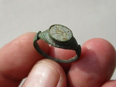 ancient Roman bronze ring, with intact enamel on the base
