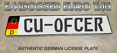 BMW German Eagle Euro European License Plate Embossed - CU-OFCER -  GERMANY