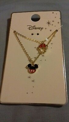 Primark Disney Gold Coloured Disney Mickey/minnie Mouse Necklace