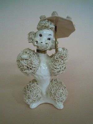 Vintage White Spaghetti Poodle with Pink Parasol Figurine # 2072, Japan
