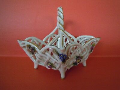 Antique Porcelain Schierholz Germany Gilded Open Weave Basket with Flowers