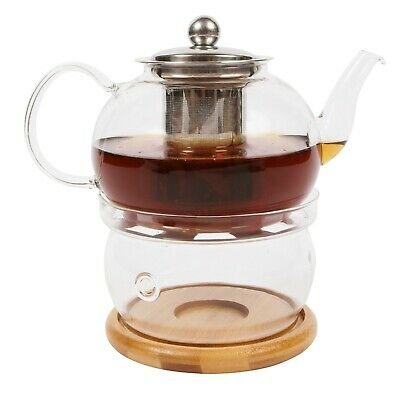 Borosilicate Glass Teapot Stainless Steel Infuser, Tealight Warmer & Bamboo Base