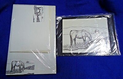 Horse Drinking 3 Pc Set-Notepad, Print and 10 Printed Envelopes New